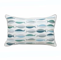 "12"" x 18"" Blue, Green and Tan Embroidered Fish Lumbar Pillow"