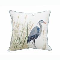 """20"""" Square Blue Heron at Saltmarsh Grass Pillow"""