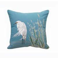 """20"""" Square Waterside Snowy White Egret Pillow"""