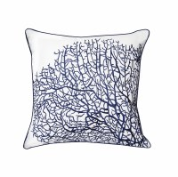"""20"""" Square Navy Coral Fan on White Pillow"""