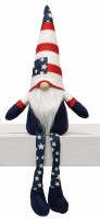 "14"" Sitting Gnome With Flag Hat and Star Legs"