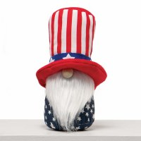 "8"" Gnome With Red, White, and Blue Uncle Sam Hat and White Beard"