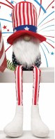 "13"" Sitting Gnome With Red, White, and Blue Uncle Sam Hat and White Beard"