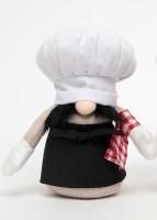 "10"" Gnome With Chef Hat and Black Apron With Napkin"