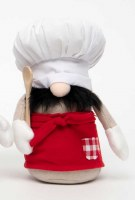"10"" Gnome With Chef Hat and Red Apron With Spoon"