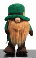 "11"" Gnome With Walking Stick and Leprechaun Hat"
