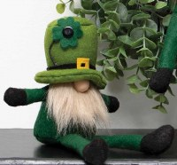 "9"" Sitting Gnome With Leprechaun Hat and Off White Beard"