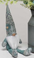 "13"" Sitting Gnome With Paisley Hat and Mint Flower"