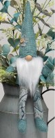 "13"" Sitting Gnome With Mint Hat and Paisley Flower"