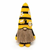 "7"" Gnome With Yellow and Black Striped Hat With Bees and Flowers"