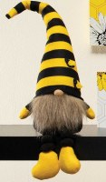 "15"" Sitting Gnome With Yellow and Black Striped Bee Hat"