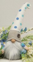 "10"" Gnome With Blue and White Polka Dot Hat With Button"