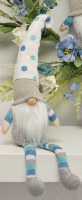 "15"" Sitting Gnome With Blue and White Polka Dot Hat"