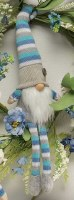 """15"""" Sitting Gnome With Blue and White Striped Hat"""