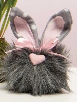 """5"""" Gray Cottontail Gnome With Heart Nose and Polka Dot Ears"""