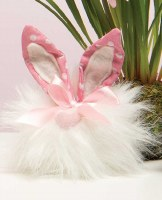 """5"""" White Cottontail Gnome With Heart Nose and Polka Dot Ears"""