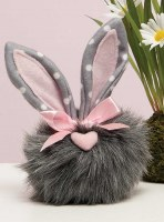 """6"""" Gray Cottontail Gnome With Heart Nose and Polka Dot Ears"""