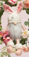 """10"""" Sitting Gnome With Heart Nose and Bunny Ears Hat"""