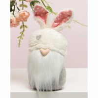 """10"""" Gnome With Heart Nose and Bunny Ears Hat"""