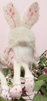 """9"""" Sitting Pink Floral Gnome With Fuzzy Bunny Hat"""
