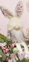 """9"""" Sitting Purple Floral Gnome With Fuzzy Bunny Hat"""