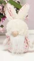 """7"""" Pink Floral Gnome With Fuzzy Bunny Hat"""