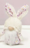 """7"""" Purple Floral Gnome With Fuzzy Bunny Hat"""
