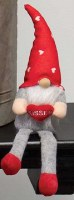"""13"""" Gray Valentine Gnome With Kisses Heart"""