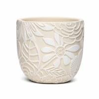 "5"" Round Cream With White Flowers Terracotta Pot"