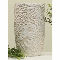 """8"""" Tall Round Cream With White Flowers Terracotta Pot"""