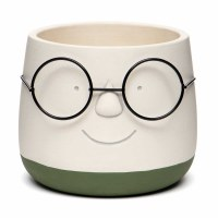"""5"""" Round White and Green Smiley Face With Glasses Concrete Pot"""