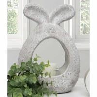 "9"" Whitewashed Concrete Open Bunny Planter"