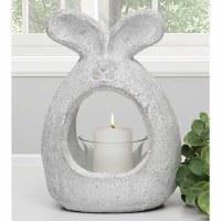 "7"" Whitewashed Concrete Open Bunny Planter"