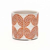 "3"" Round White and Coral Faux Mosaic Concrete Pot"