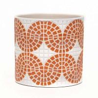 "5"" Round White and Coral Faux Mosaic Concrete Pot"