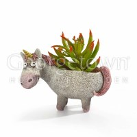 "4"" Gray and Pink Percival the Unicorn Planter"