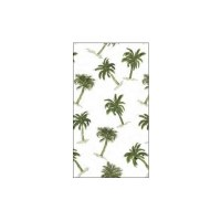 """5"""" x 8"""" White With Dark Green Palm Guest Towel"""