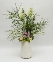 """26"""" White Flowers and Succulents in White Ribbed Vase"""