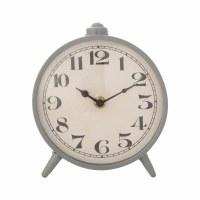 "6"" Round Gray Metal Mantel Clock"