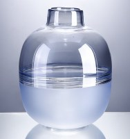 """12"""" Two-toned Blue Glass Round Vase"""