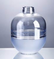 """8"""" Two-toned Blue Glass Round Vase"""