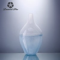 """17"""" White and Light Blue Color Block Glass Pin Vase"""
