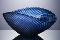"""14"""" Dark Blue Glass Wavy Stripes Bowl"""