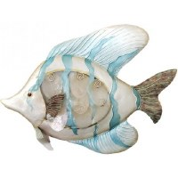 """18"""" Blue White Metal and Capiz Tropical Fish Wall Plaque"""