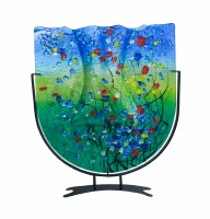 """19"""" Blue and Green With Red Flowers Fused Glass U Vase With Stand"""