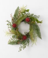 "6.5"" Opening Faux Green and Red Fern Candle Ring"