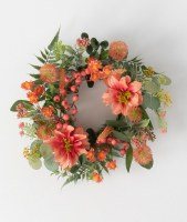 "4.5"" Opening Faux Coral Dahlia and Berry Candle Ring"