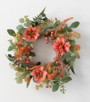 "6.5"" Opening Faux Coral Dahlia and Berry Candle Ring"
