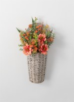 "21"" Faux Coral Dahlia and Berry Wall Basket"