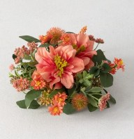 "3"" Faux Coral Dahlia and Berry Half Orb"